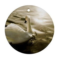 swan Twin-sided Ceramic Ornament (Round)