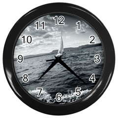 Sailing Black Wall Clock
