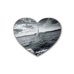 sailing Rubber Drinks Coaster (Heart)