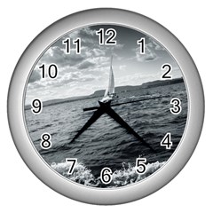 sailing Silver Wall Clock