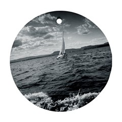 Sailing Twin Sided Ceramic Ornament (round)