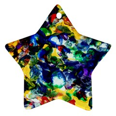 Colors Twin Sided Ceramic Ornament (star)