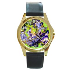 Being Green1a Black Leather Gold Rim Watch (Round)