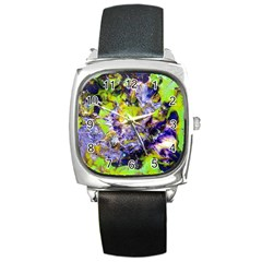 Being Green1a Black Leather Watch (Square)