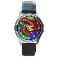 Culture Mix Black Leather Watch (Round)