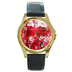 Decisions Black Leather Gold Rim Watch (Round)
