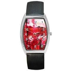 Decisions Black Leather Watch (Tonneau)