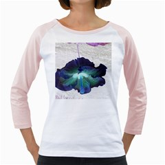 Exotic Hybiscus   White Long Sleeve Raglan Womens  T-shirt