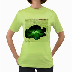 Exotic Hybiscus   Green Womens  T-shirt