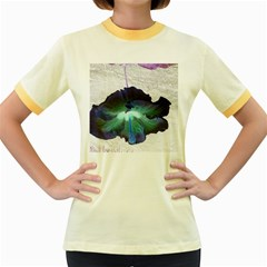 Exotic Hybiscus   Colored Ringer Womens  T-shirt