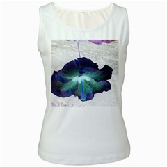 Exotic Hybiscus   White Womens  Tank Top