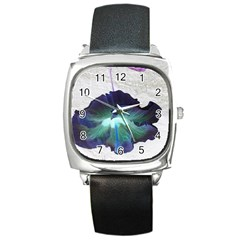 Exotic Hybiscus   Black Leather Watch (Square)