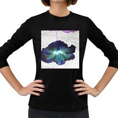 Exotic Hybiscus   Dark Colored Long Sleeve Womens'' T-shirt