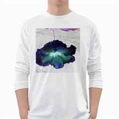 Exotic Hybiscus   White Long Sleeve Man''s T Shirt