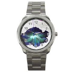 Exotic Hybiscus   Stainless Steel Sports Watch (round)