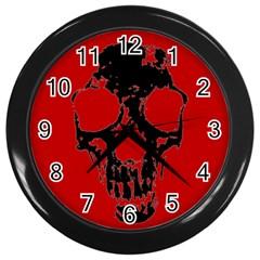 Fragmented Skull Black Wall Clock
