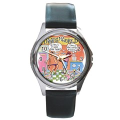 Thong World Black Leather Watch (Round)