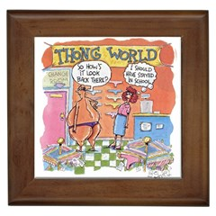 Thong World Framed Ceramic Tile