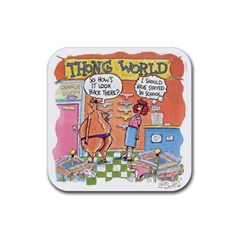 Thong World Rubber Drinks Coaster (Square)