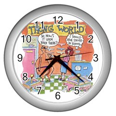 Thong World Silver Wall Clock