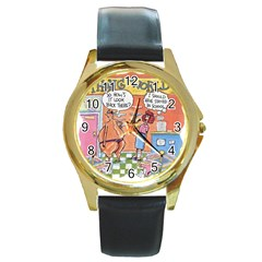 Thong World Black Leather Gold Rim Watch (Round)