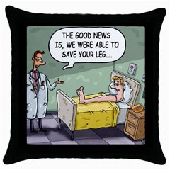 The Good News Is ... Black Throw Pillow Case