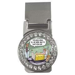 The Good News Is     Money Clip With Gemstones (round)