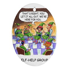 Elf Help Group Ceramic Ornament (Oval)