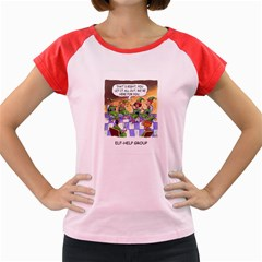 Elf Help Group Colored Cap Sleeve Raglan Womens  T-shirt