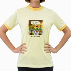 Elf Help Group Colored Ringer Womens  T-shirt