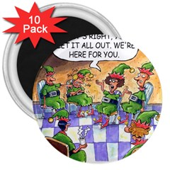 Elf Help Group 10 Pack Large Magnet (Round)