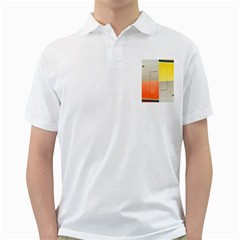 Geometry White Mens  Polo Shirt