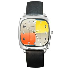 geometry Black Leather Watch (Square)