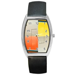 geometry Black Leather Watch (Tonneau)