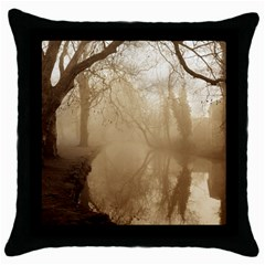 misty morning Black Throw Pillow Case