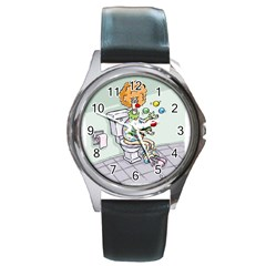 Multitasking Clown Black Leather Watch (round)
