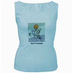 Multitasking Clown Baby Blue Womens  Tank Top