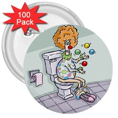 Multitasking Clown 100 Pack Large Button (Round)