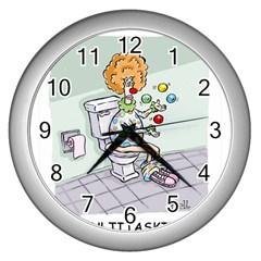 Multitasking Clown Silver Wall Clock
