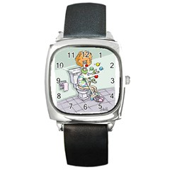 Multitasking Clown Black Leather Watch (Square)