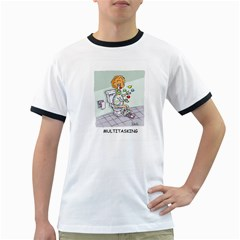 Multitasking Clown White Ringer Mens'' T Shirt