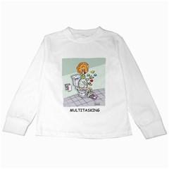 Multitasking Clown White Long Sleeve Kids'' T-shirt