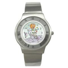 Multitasking Clown Stainless Steel Watch (Round)