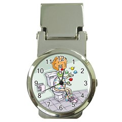 Multitasking Clown Chrome Money Clip With Watch