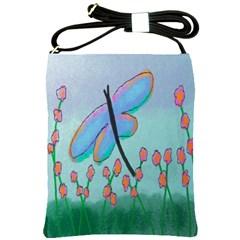 Dragonfly And Flowers Shoulder Bag Cross Shoulder Sling Bag