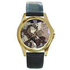 Cat Cartoonizer 2 Black Leather Gold Rim Watch (Round)
