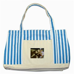 Cat Cartoonizer 2 Blue Striped Tote Bag