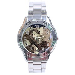 Cat Cartoonizer 2 Stainless Steel Analogue Watch (Round)