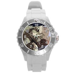 Cat Cartoonizer 2 Round Plastic Sport Watch Large