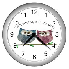 Owl Always Love You, Cute Owls Silver Wall Clock